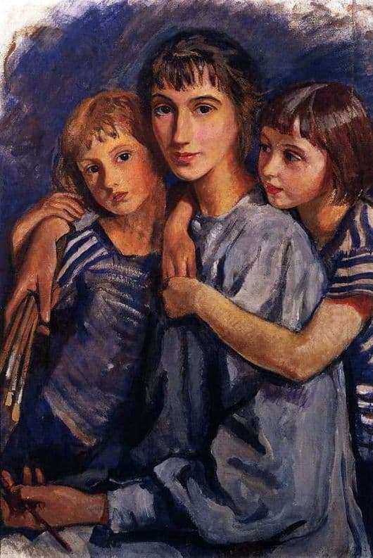 Description of the painting by Zinaida Serebryakova Self portrait with two daughters