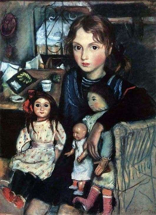 Description of the painting by Zinaida Serebryakova Kate with dolls