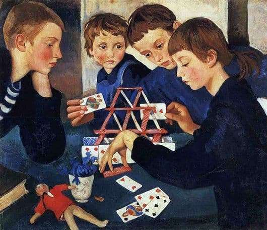 Description of the painting by Zinaida Serebryakova House of Cards