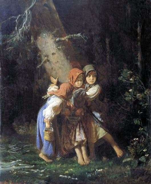 Description of the painting by Alexey Korzukhin Peasant girls in the forest