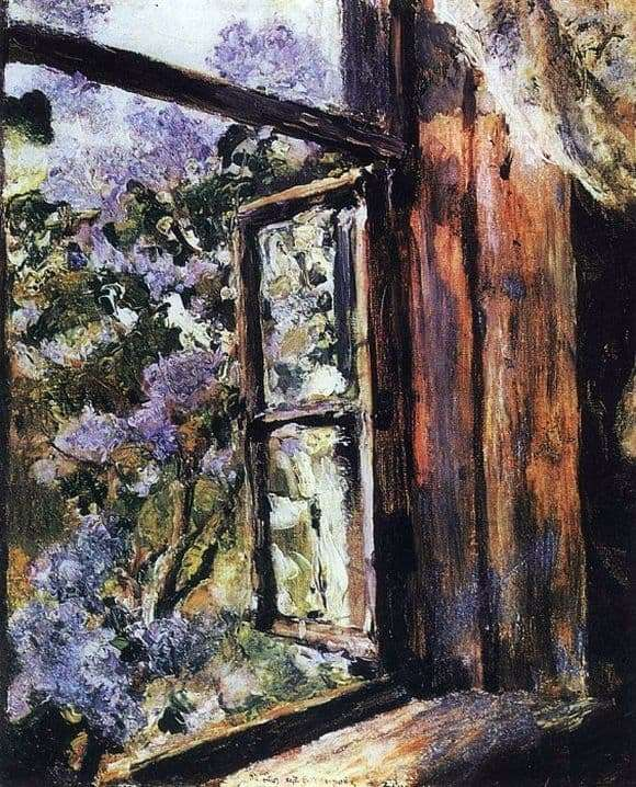 Description of the painting by Valentin Serov Open window lilac