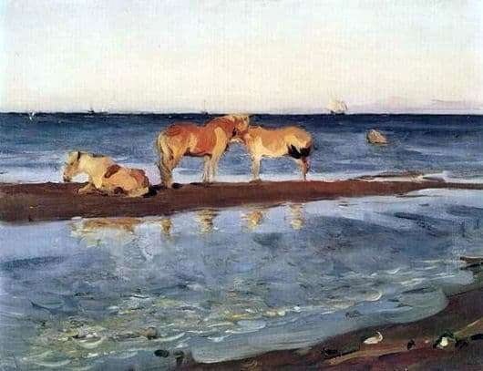 Description of the painting by Valentin Serov Horses on the beach