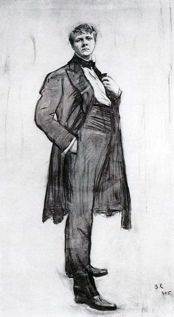 Description of the painting by Valentin Serov Portrait of the artist F. I. Shalyapin