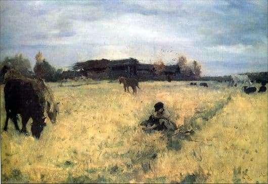 Description of the painting by Valentin Serov October. Domotkanovo