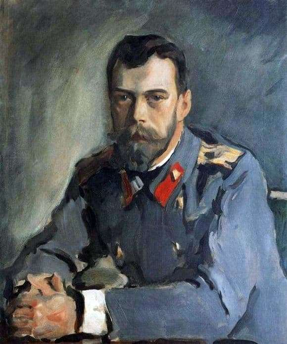 Description of the painting by Valentin Serov Portrait of Emperor Nicholas II