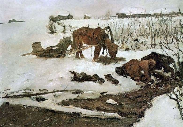 Description of the painting by Valentin Serov Rinsing clothes
