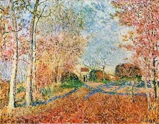 Description of the painting by Alfred Sisley The road at the edge of the forest