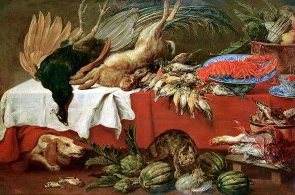 Description of the painting by Franz Snyders Still life with bat game and lobster