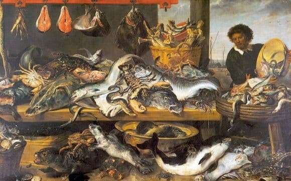 Description of the painting by Frans Snyders Fish Shop