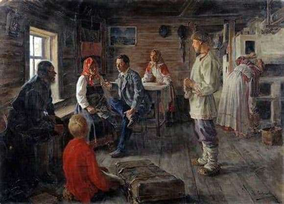 Description of the painting by Mikhail Sokolov At home