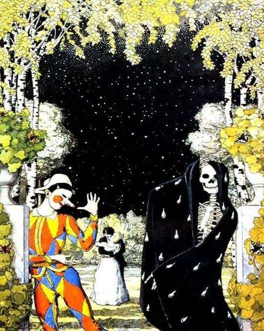 Description of the painting by Konstantin Somov Harlequin and death
