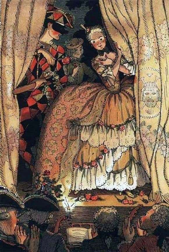 Description of the painting by Konstantin Somov Book of the Marquise