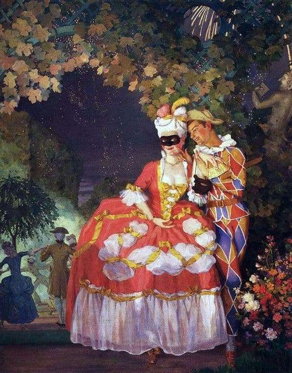 Description of the painting by Konstantin Somov Harlequin and the lady