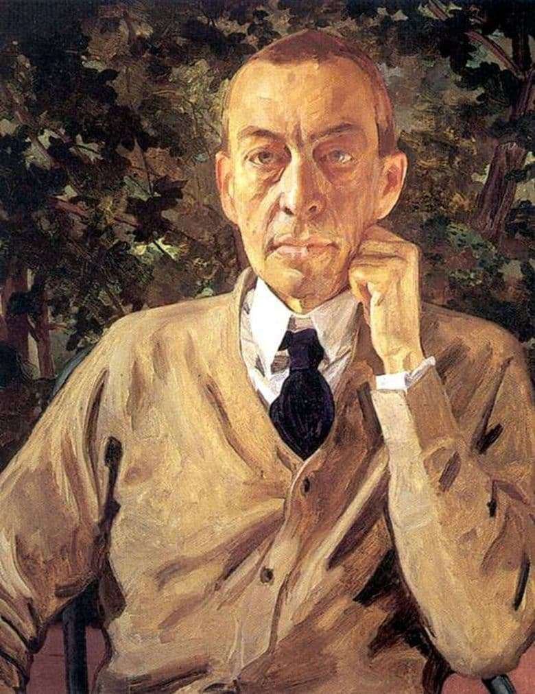 Description of the painting by Konstantin Somov Portrait of S. V. Rakhmaninov