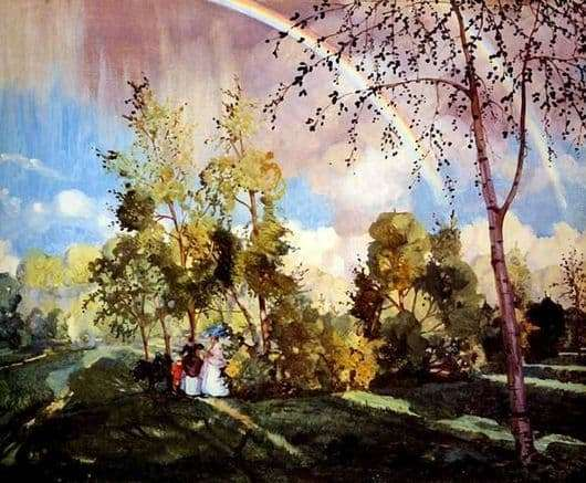 Description of the painting by Konstantin Somov Landscape with a rainbow