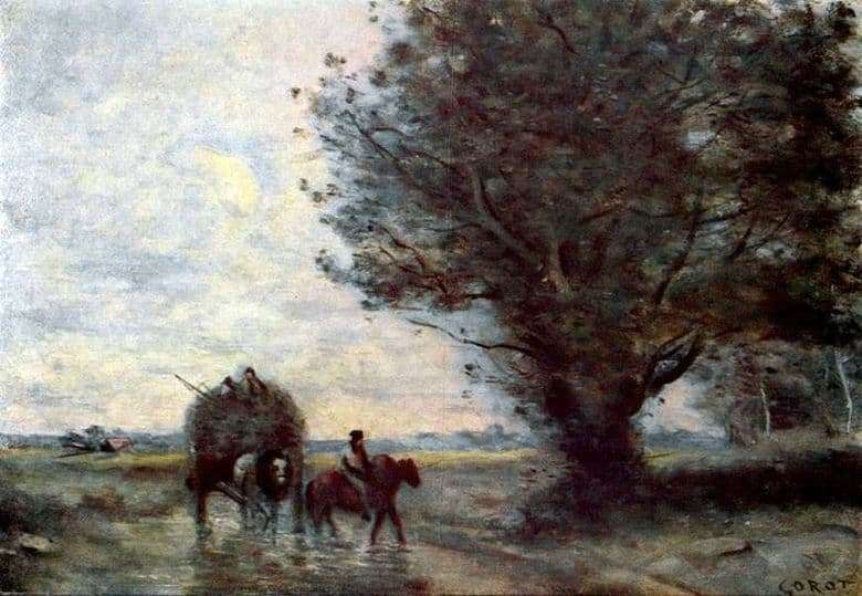 Description of the painting by Jean Baptiste Corot Carts of hay