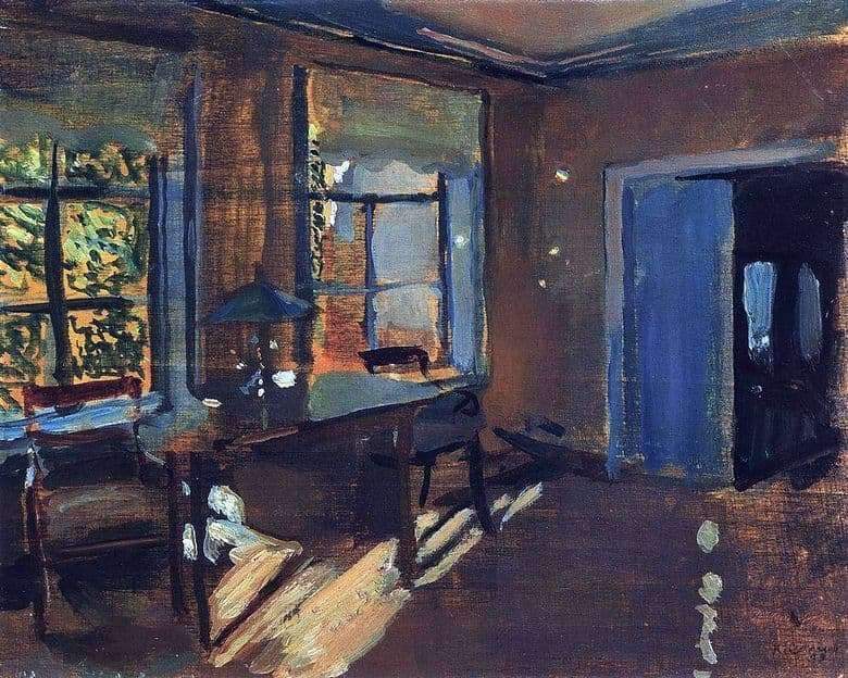 Description of the painting by Konstantin Somov Interior at Pavlovs Dacha