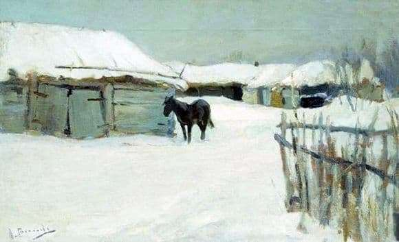 Description of the painting by Alexei Stepanov In the village