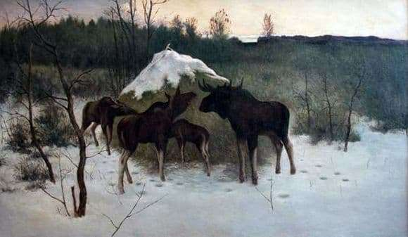 Description of the painting by Alexei Stepanov moose