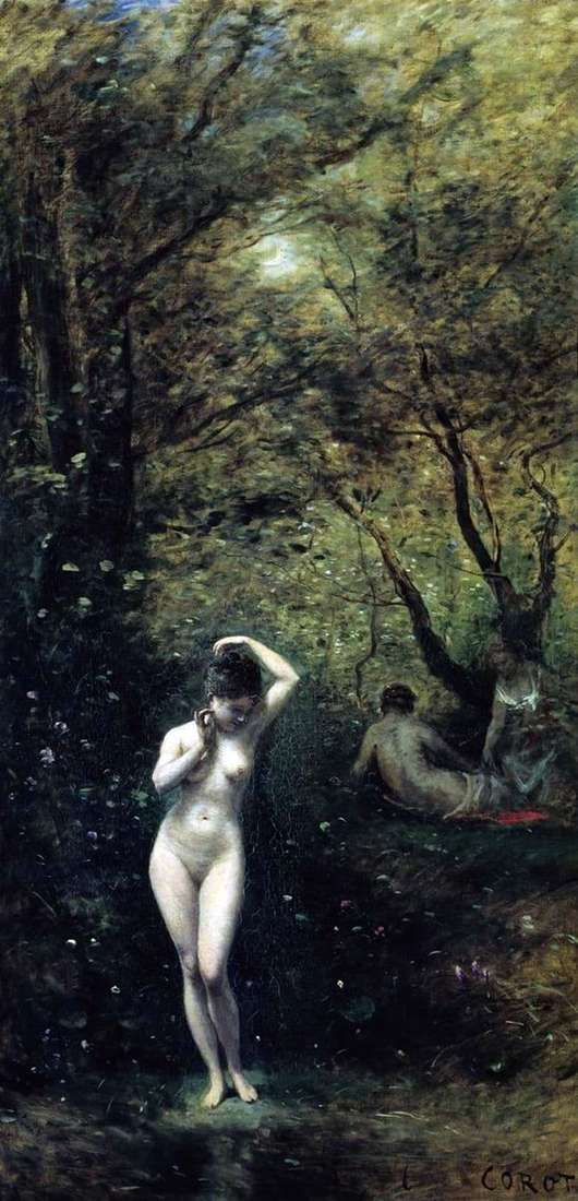 Description of the painting by Camille Corots Bathing Diana