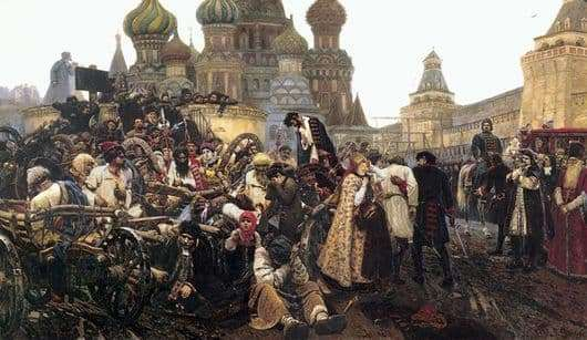 Description of the painting by Vasily Surikov Morning Strelets penalty
