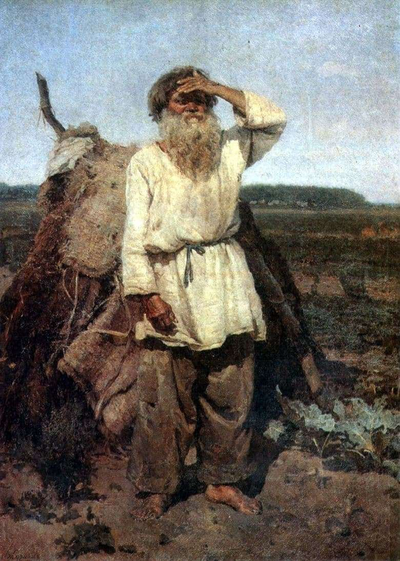 Description of the painting by Vasily Surikov The old man gardener