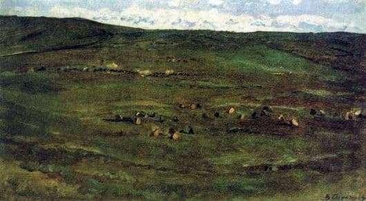Description of the painting by Vasily Surikov Herd of horses in the Barabinsk steppe