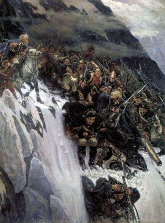 Description of the painting by Vasily Surikov Suvorovs Crossing the Alps