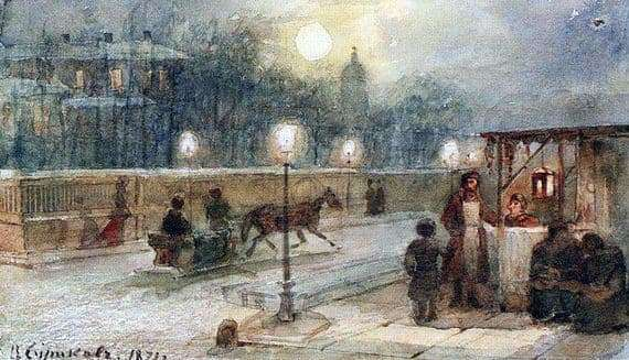 Description of the painting by Vasily Surikov Evening in St. Petersburg