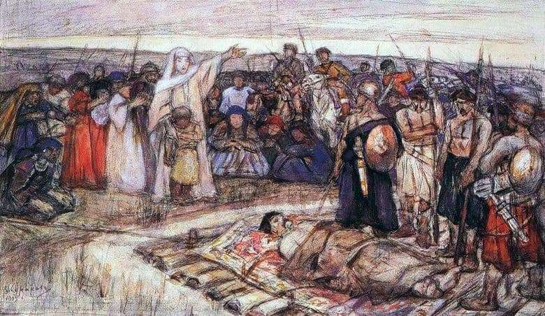 Description of the painting by Vasily Surikov Princess Olga meets the body of Prince Igor
