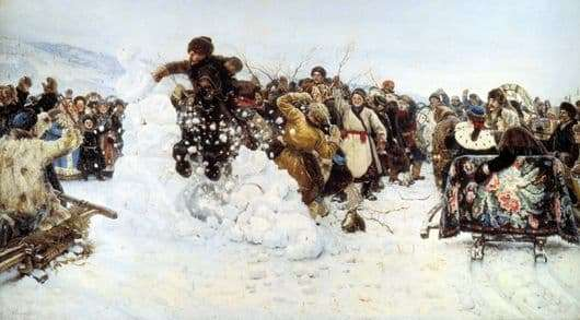 Description of the painting by Vasily Surikov Taking the Snow Town