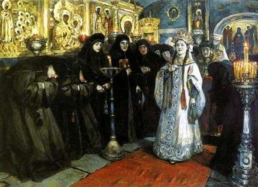 Description of the painting by Vasily Surikov Visiting the Princess of the Convent
