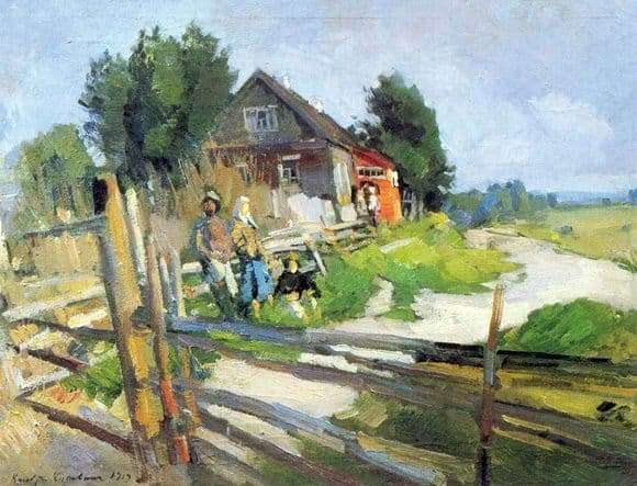Description of the painting by Konstantin Korovin Landscape with a fence