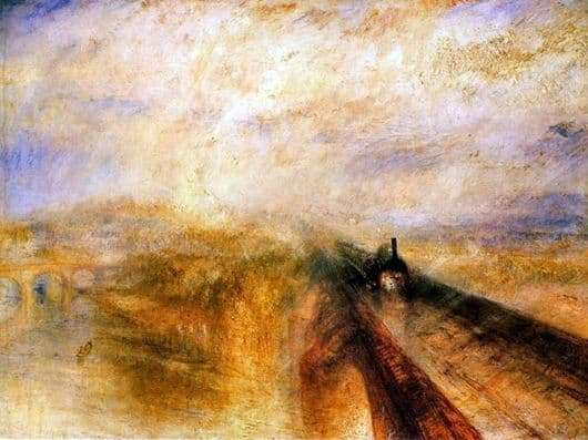 Description of the painting by William Turner Rain, steam and speed