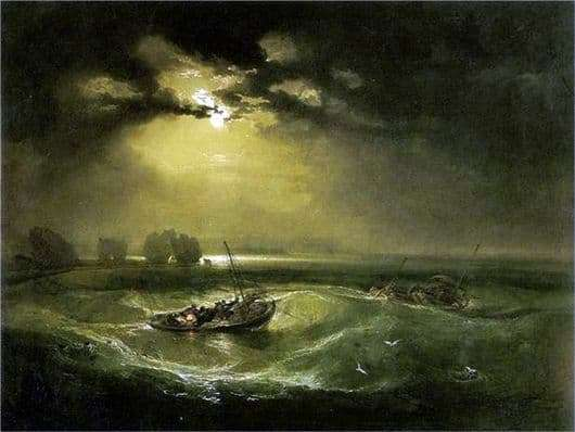 Description of the painting by William Turner Fishermen in the sea