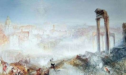 Description of the painting by William Turner Modern Rome. Campo Vaccino