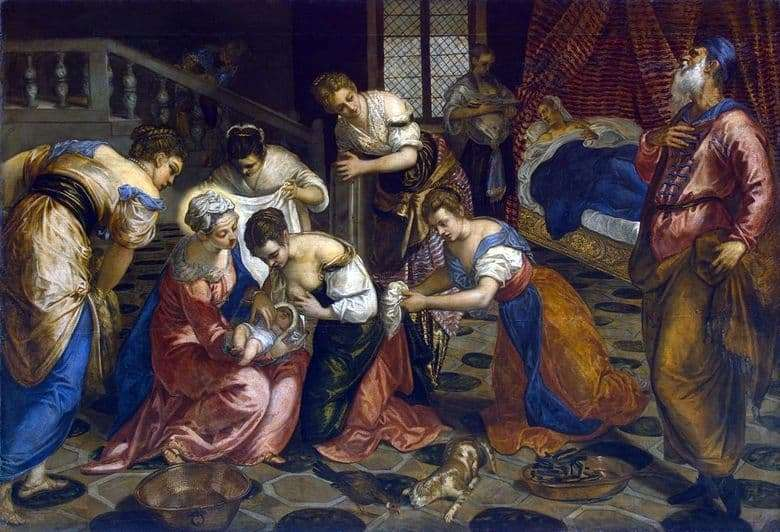 Description of the painting by Jacopo Tintoretto The birth of John the Baptist