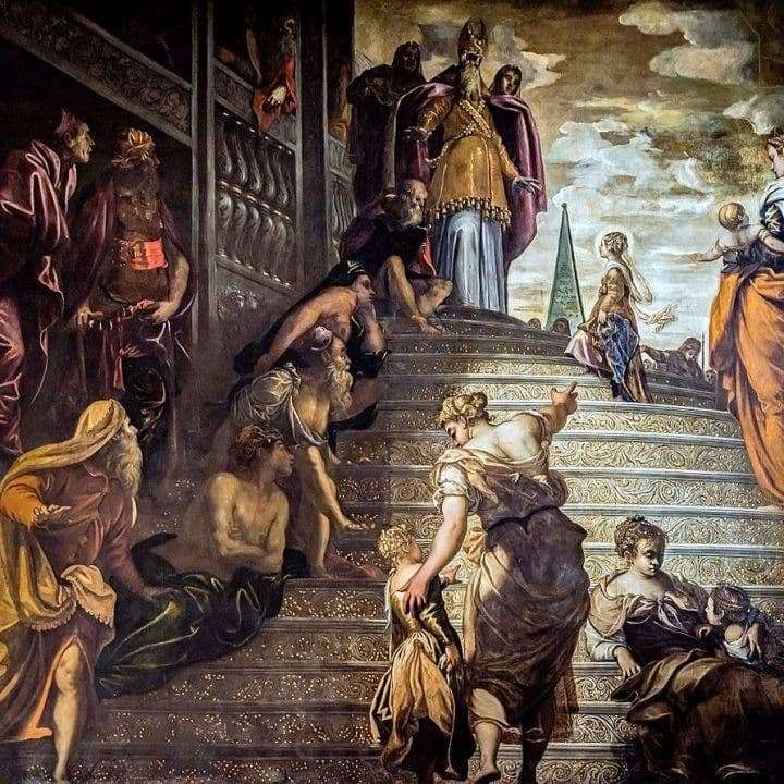 Description of the painting by Jacopo Tintoretto Introduction of Mary to the temple