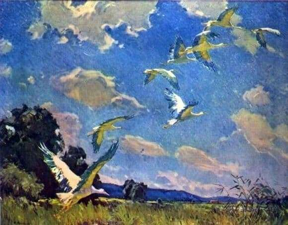 Description of the painting by Ivan Tikhiy Storks