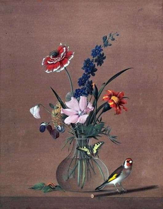 Description of the painting by Fedor Tolstoy Bouquet of flowers, a butterfly and a bird