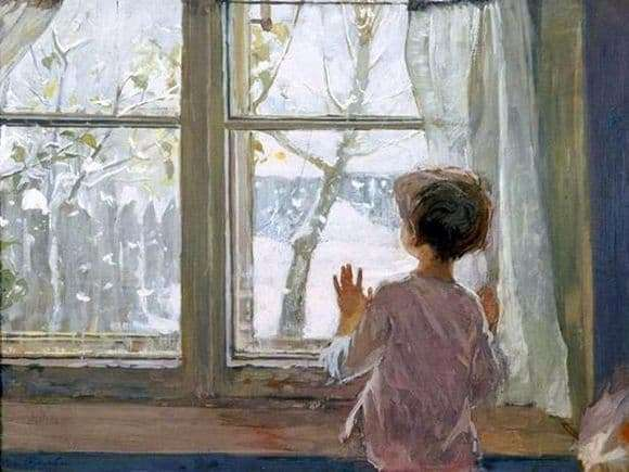 Description of the painting by Sergei Tutunov Winter has come. Childhood