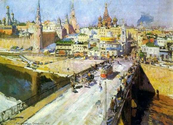 Description of the painting by Constant Korovin Moskvoretsky Bridge