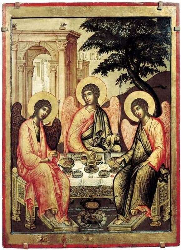 Description of the icon of Simon Ushakov Old Testament Trinity