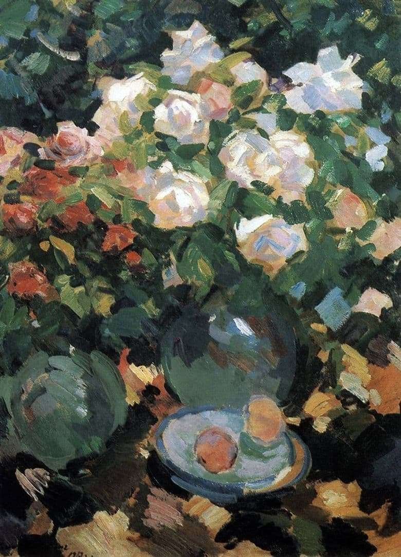 Description of the painting by Konstantin Korovin Roses in blue jugs
