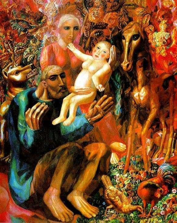 Description of the painting by Pavel Filonov Peasant Family