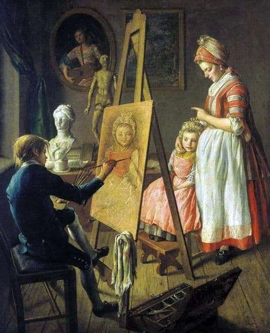Description of the painting by Ivan Firsov Young Painter