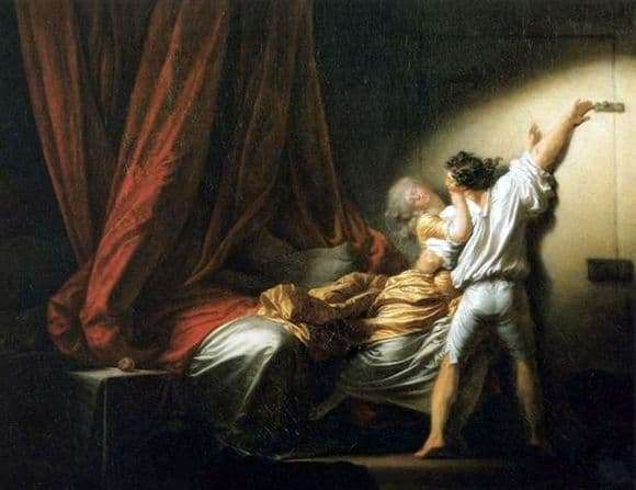 Description of the painting by Jean Honore Fragonard The Latch