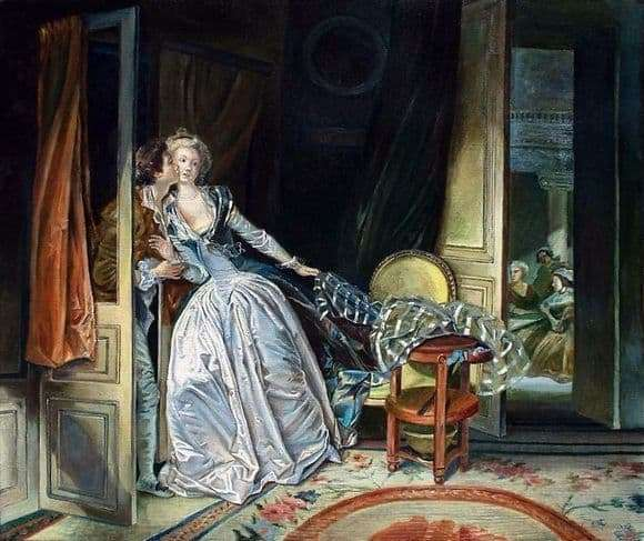 Description of the painting by Jean Honore Fragonard Kiss furtively