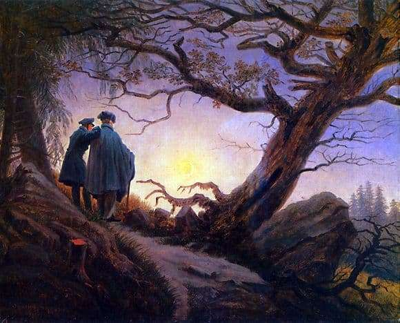 Description of the painting by Caspar David Friedrich Two, contemplating the moon