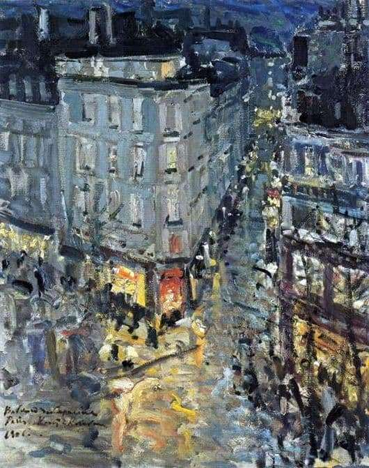 Description of the painting by Konstantin Korovin Paris. Capuchin Boulevard